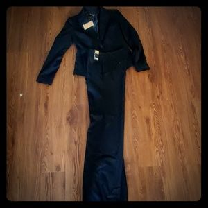 Black pin strip womans suit